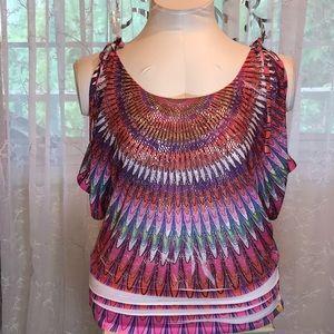Tops - Cold shoulder colorful top 🍇